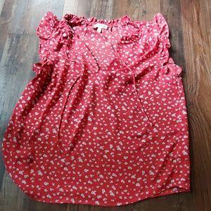 Monteau Sleeveless Floral Ruffle Shirt